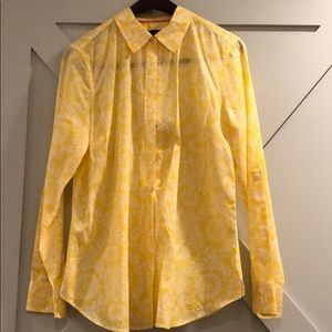 Yellow button down floral top from Talbots